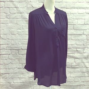 Navy blue 100% polyester blouse